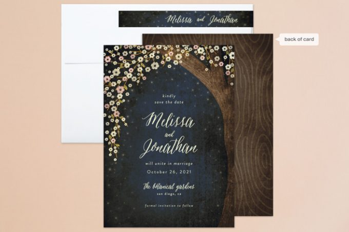 rustic starry night invitations + save the date cards