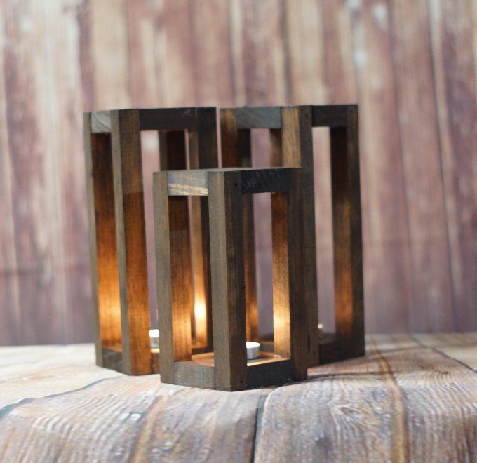trio of lantern centerpieces for weddings