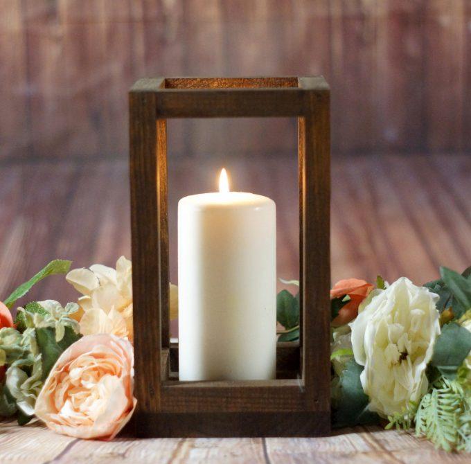 wood centerpiece lanterns