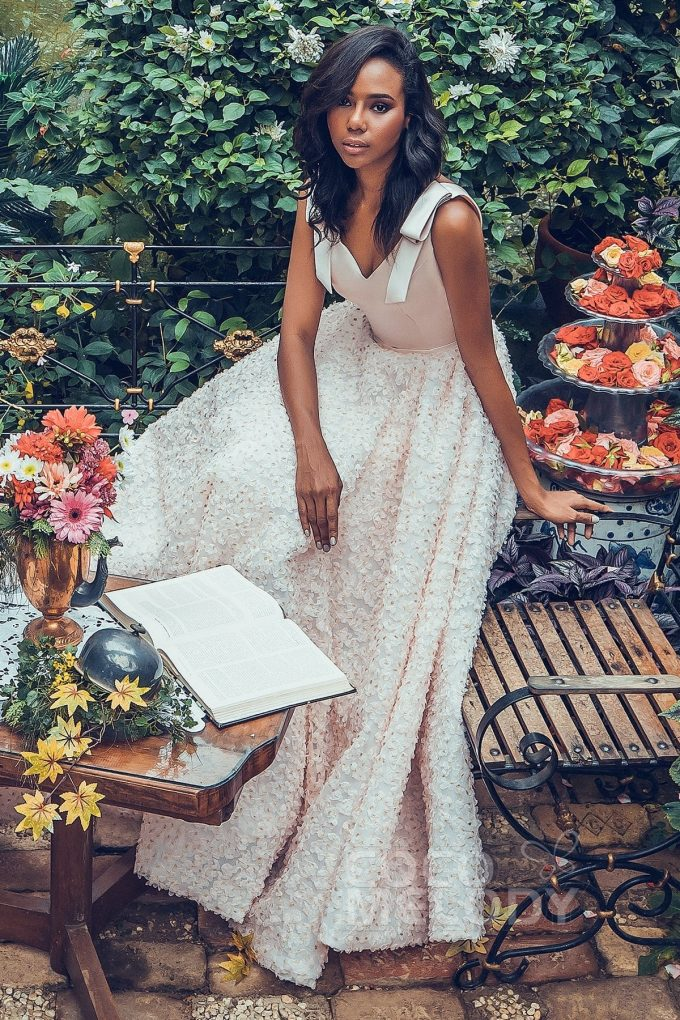 bow shoulder bridesmaid dress