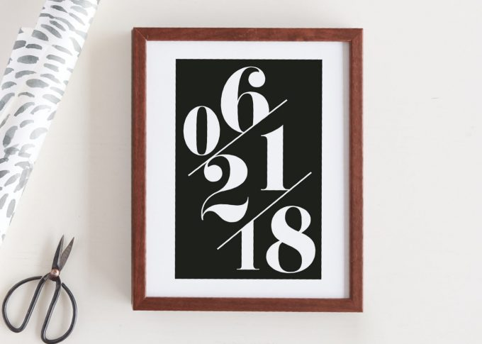 custom wedding date art