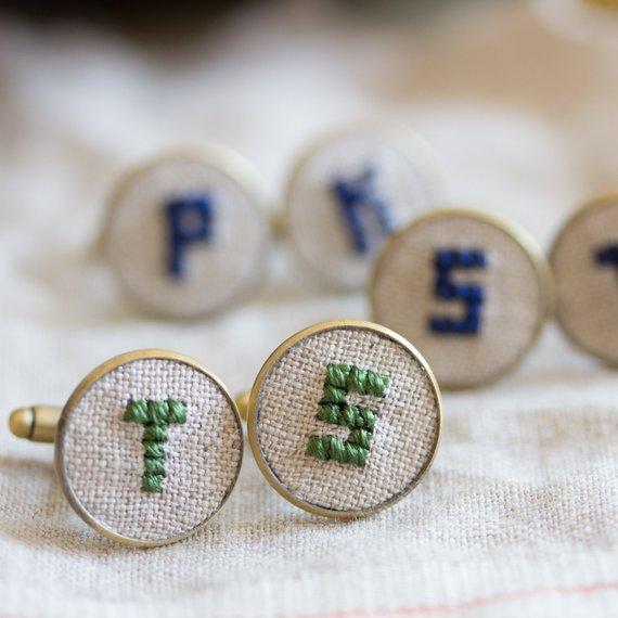 monogrammed embroidered cufflinks