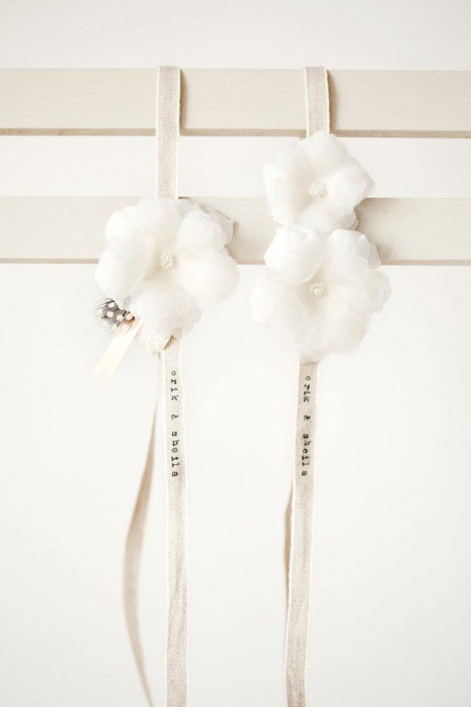 hand-stamped wedding garter