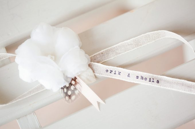 hand-stamped wedding garter