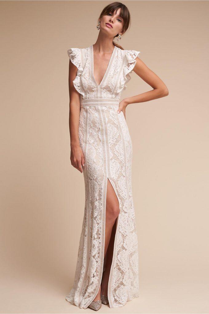 ruffled sleeve wedding gown