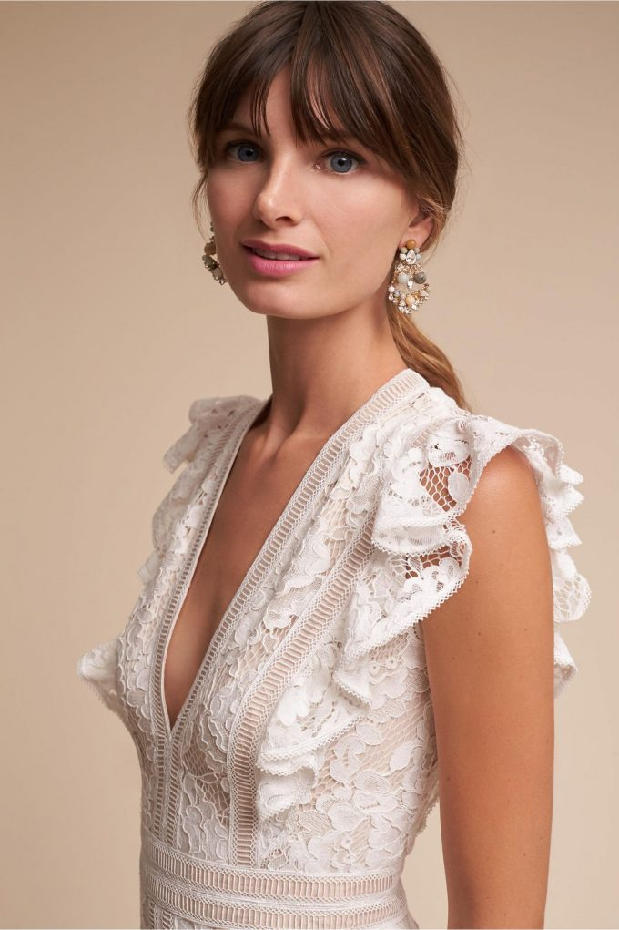 ruffled sleeve wedding gown