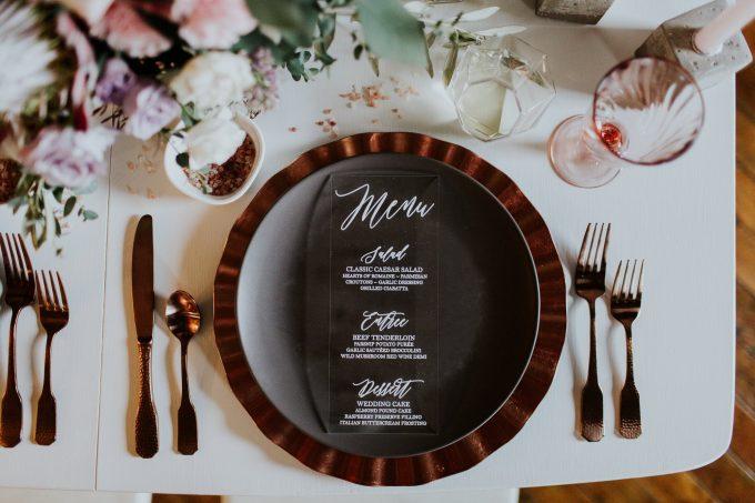 acrylic wedding menu