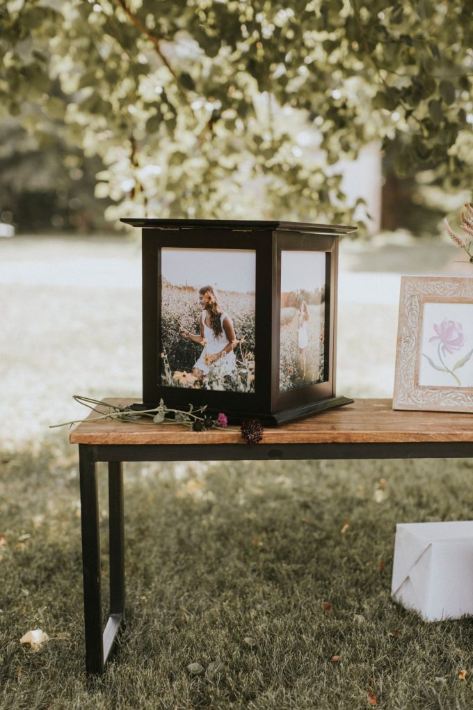 wedding card box with photos