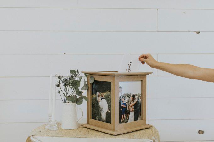 wedding card box with photos