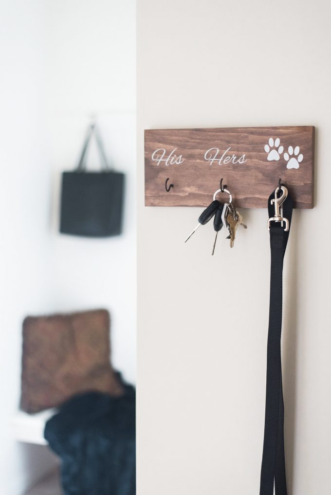 his and hers and dog key holder