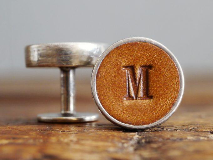 monogram leather cufflinks