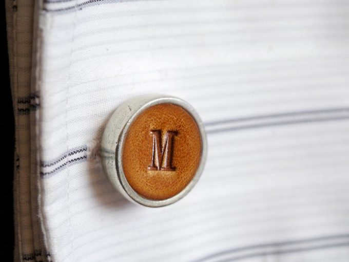 monogram leather cufflinks