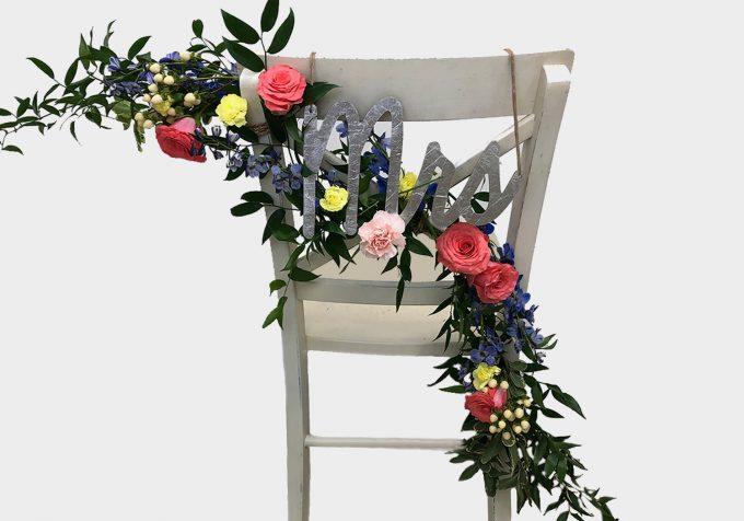 diy floral chair garland