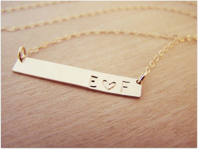 gold bar initials and heart necklace