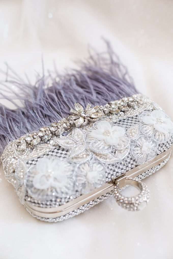 feather clutch purse