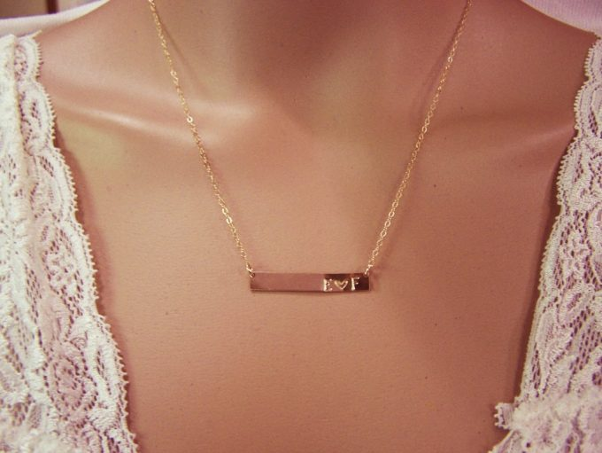 heart and initials necklace