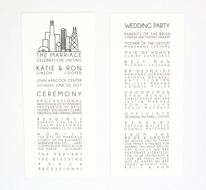 chicago wedding programs