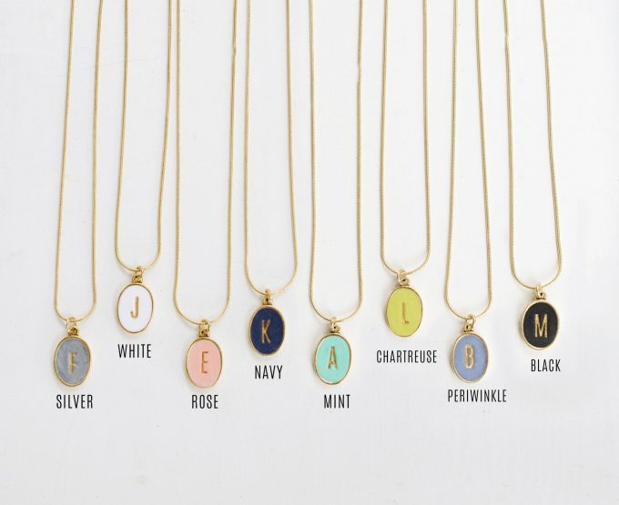 colorful initial necklace