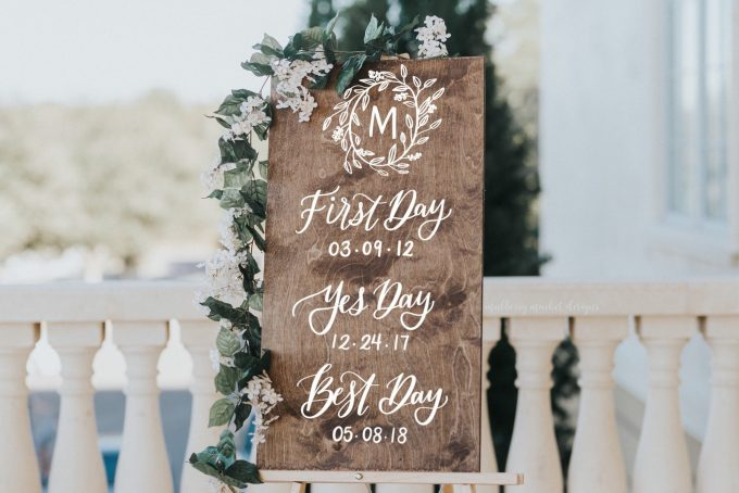 first day yes day best day wedding sign
