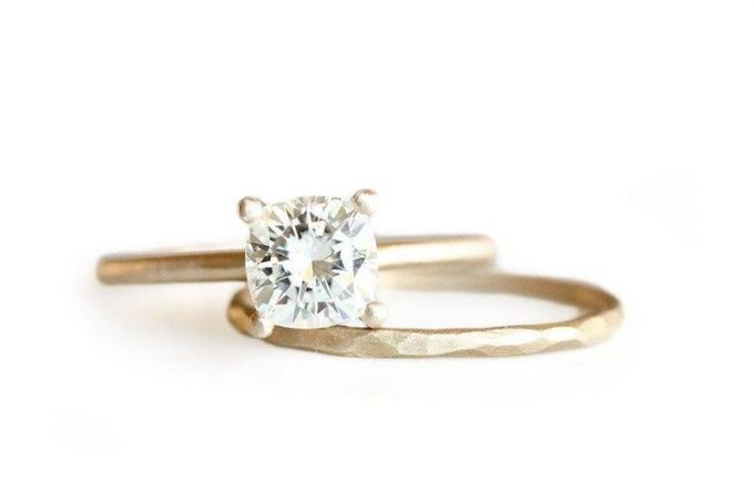 moissanite cushion cut engagement ring