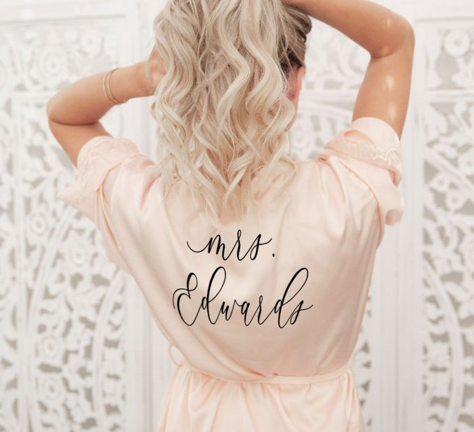 personalized bride robe with name on back