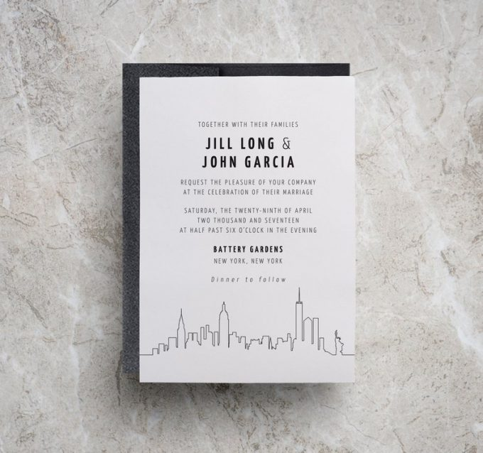 new york themed wedding invitations