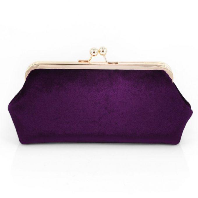 purple mauve velvet clutches