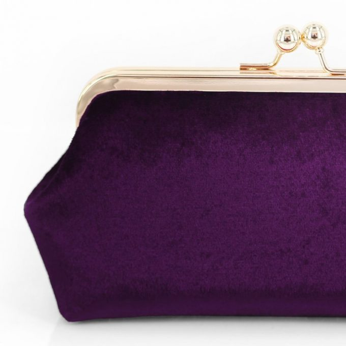 purple velvet clutches