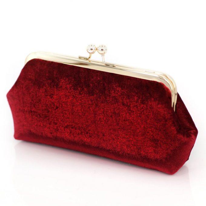 red burgundy velvet clutches