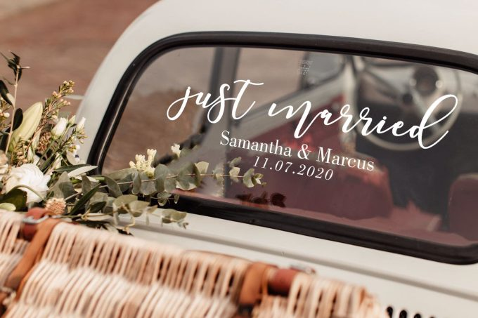just married sign for car