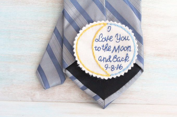 custom tie patch for weddings