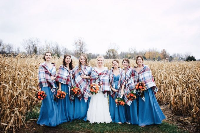 blanket scarves for bridesmaids, photo by hannah marchien photography, wrap by where to get