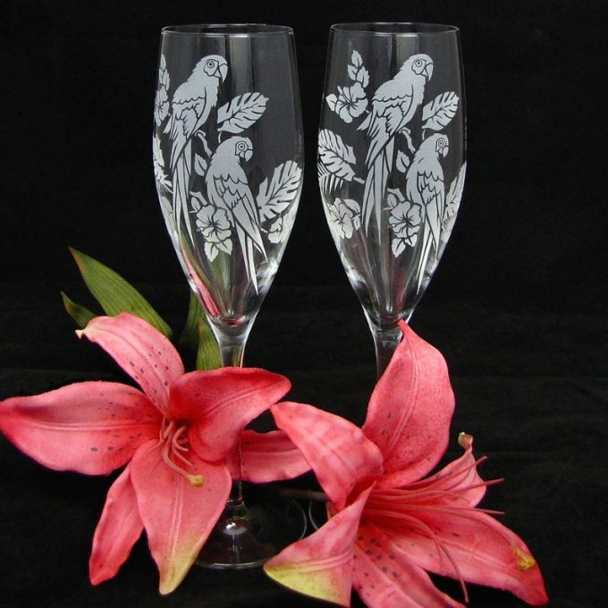 tropical champagne flutes