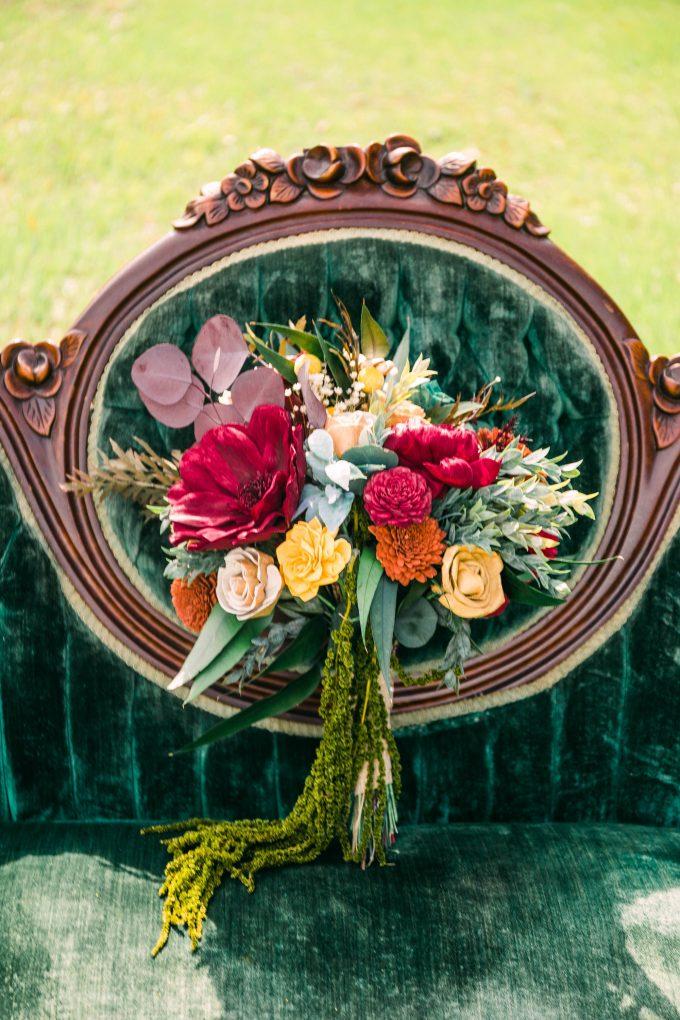 handmade fall wedding bouquet sola wood flower