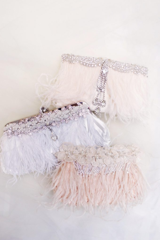feather and rhinestone clutch purse