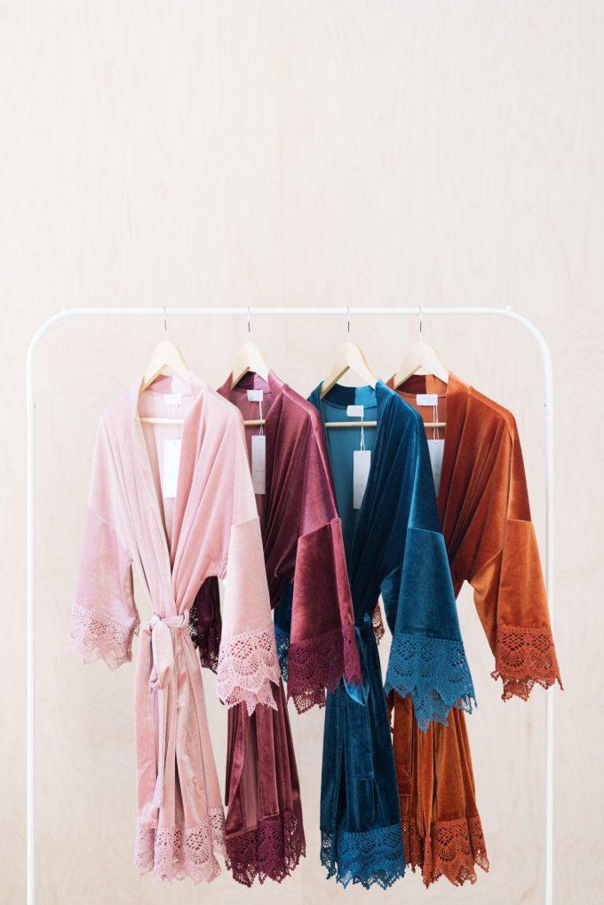 velvet bridal robes