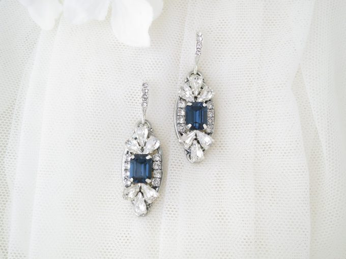 navy blue faceted art deco earrings