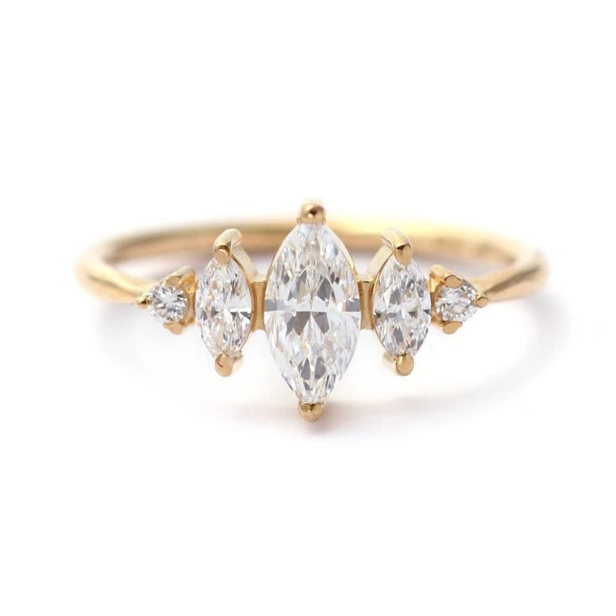 art deco engagement ring with marquise style diamonds