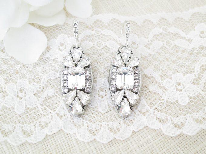 art deco earrings silver