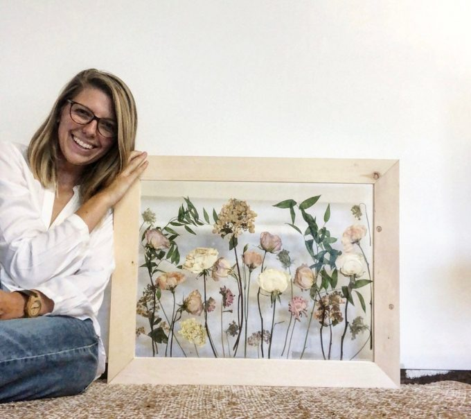 framed wedding flower art