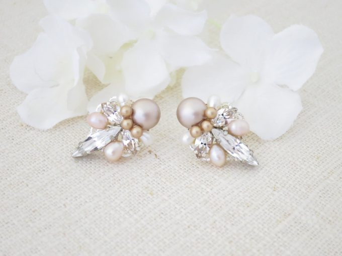 art deco earrings with pink pearls