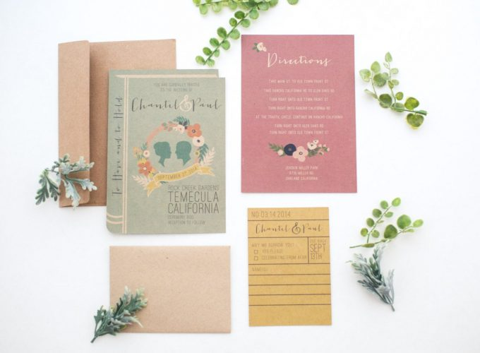 library book wedding invitations
