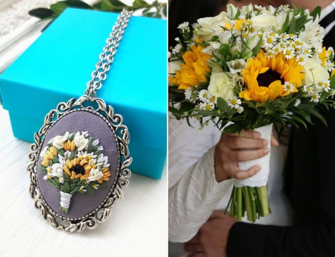 necklace made from pressed flowers of your preserved wedding bouquet