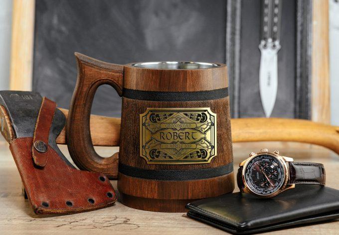 wooden beer steins and mugs for groomsmen