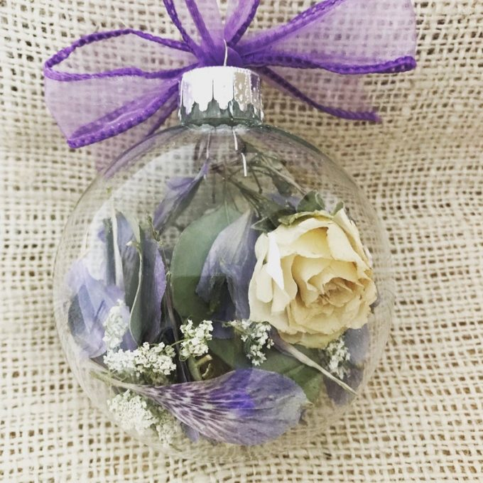 preserved flowers from your wedding bouquet in a Christmas ornament