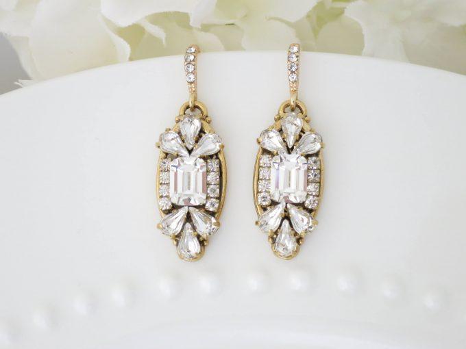 art deco earrings in gold