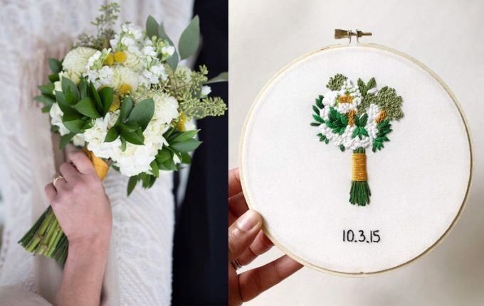 wedding hoop art embroidered with your custom flower bouquet