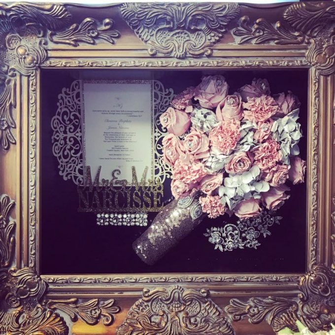 preserve wedding flowers in a shadow box