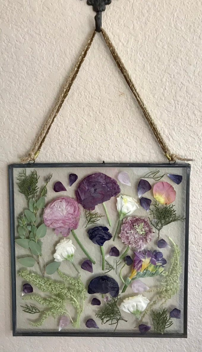 pressed flower wall art made from your wedding bouquet flowers