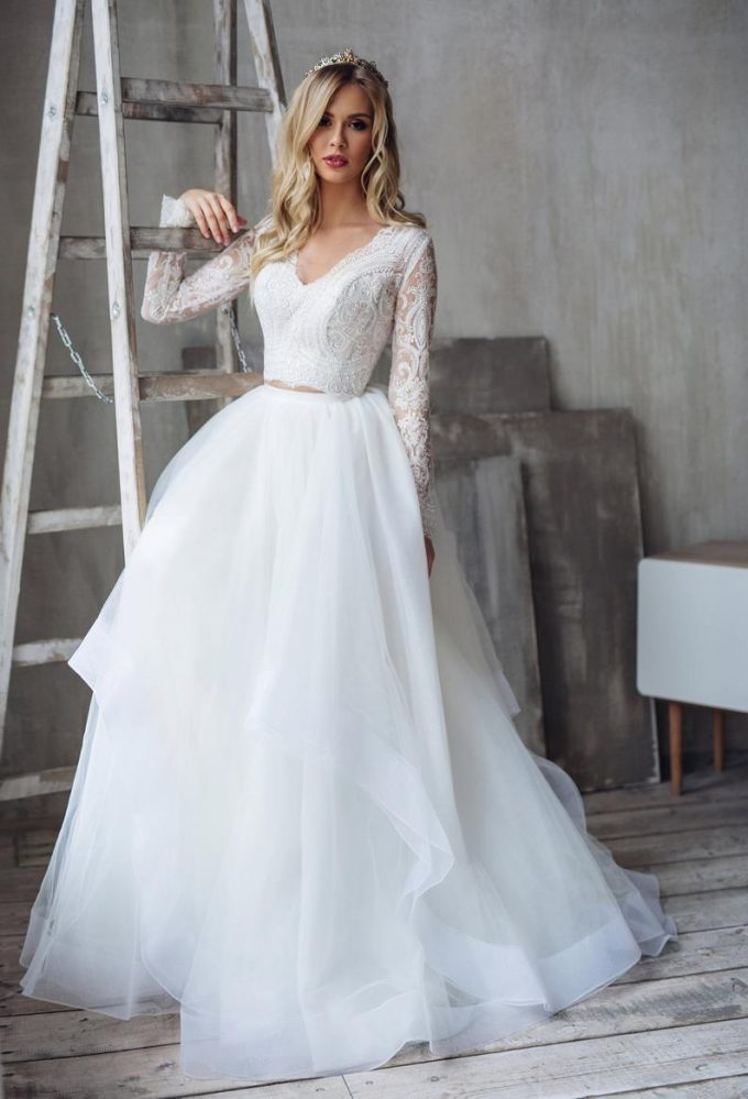 princess wedding dress with sleeves by milabridal